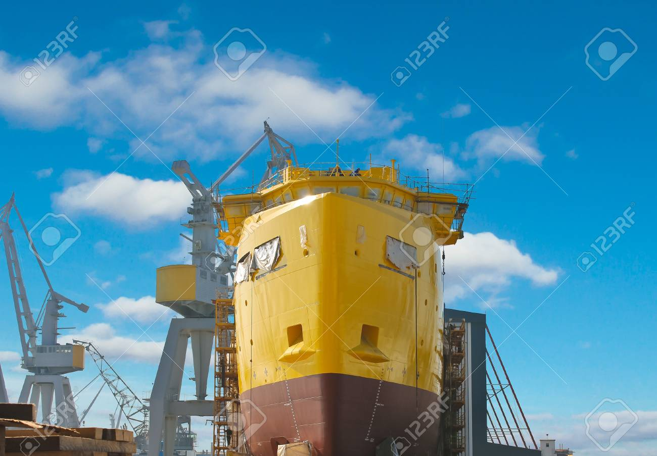 The construction of a new ship in dry dock shipyard Stock Photo - 18250725