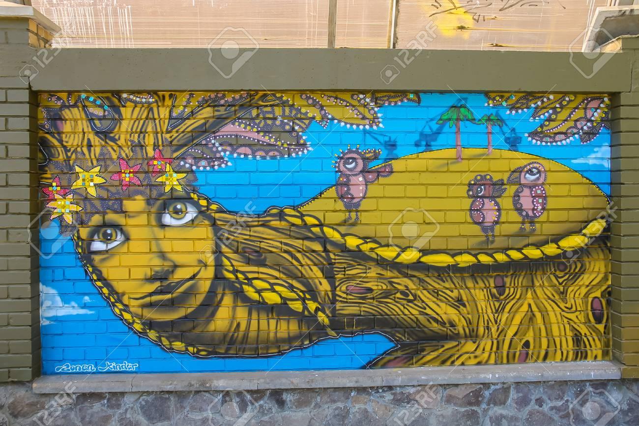 Lviv ukraine july 5 2014 street art panel by graffiti artists from