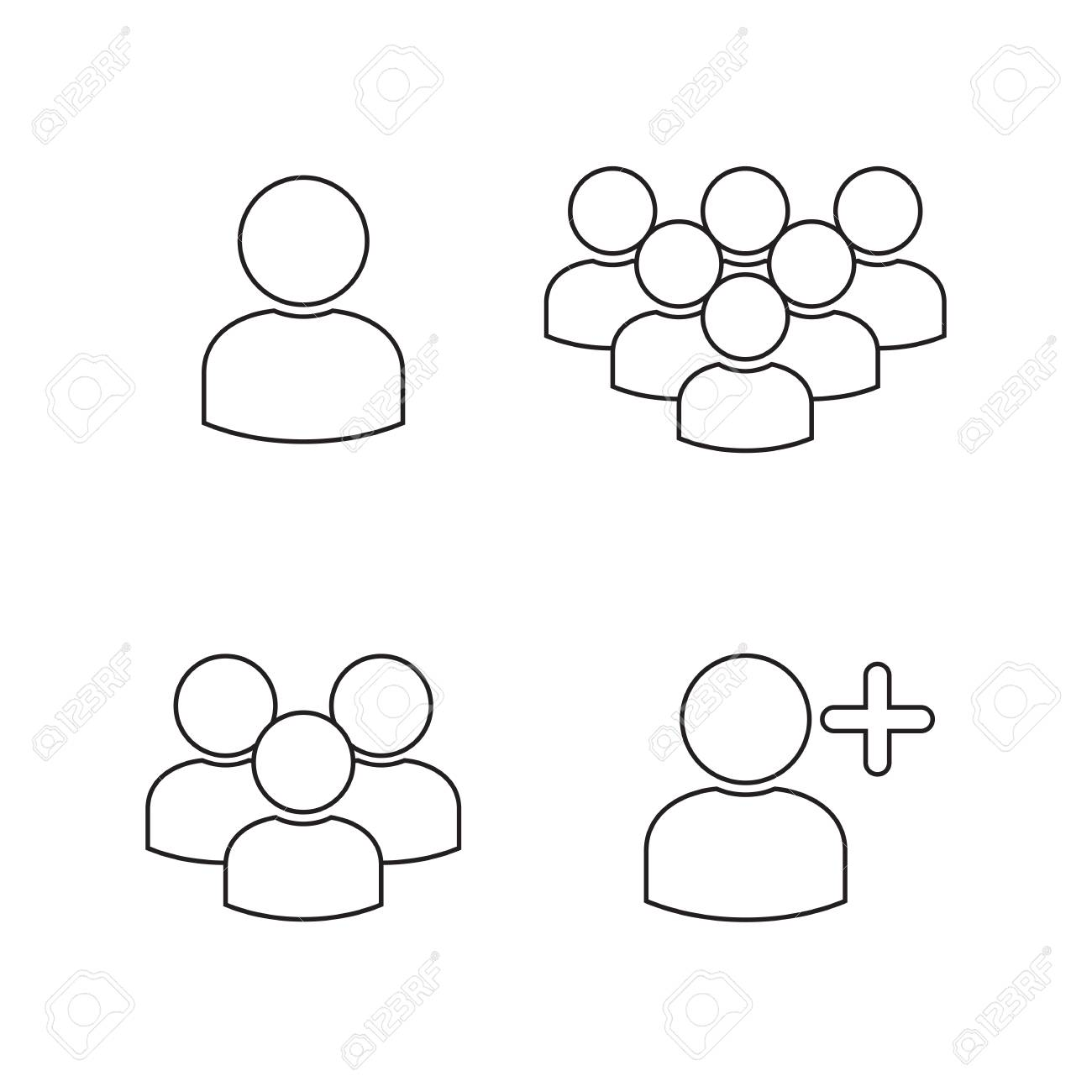 User Profile Group Icons Symbols Black On A White Background Royalty
