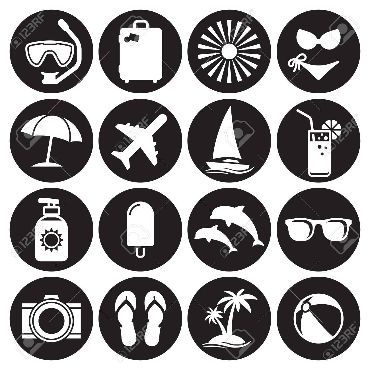 summer icon set white on a black background royalty free cliparts vectors and stock illustration image 84737158 summer icon set white on a black background
