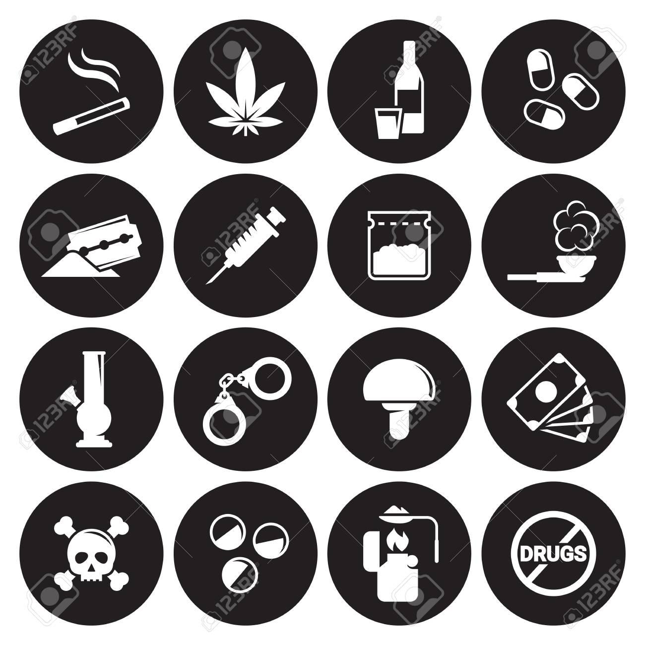 Iconos De Drogas Mono Vector Símbolos Blanco Sobre Fondo Negro