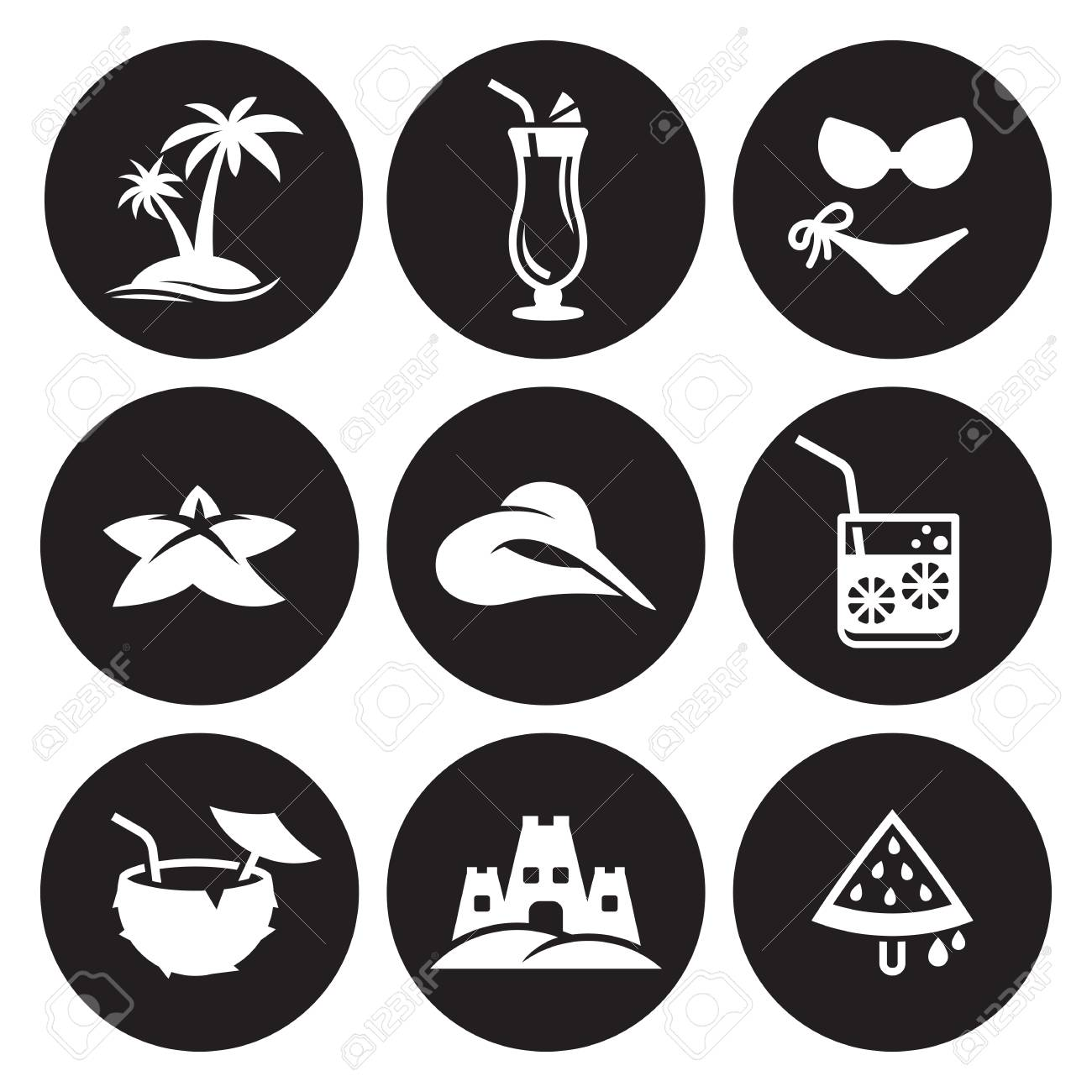 summer icons object icons set in black background set royalty free cliparts vectors and stock illustration image 93410349 summer icons object icons set in black background set