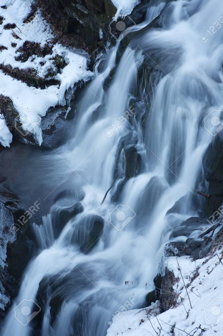 Winter waterfall, Carpathian mountains, Ukraine Stock Photo - 20987815