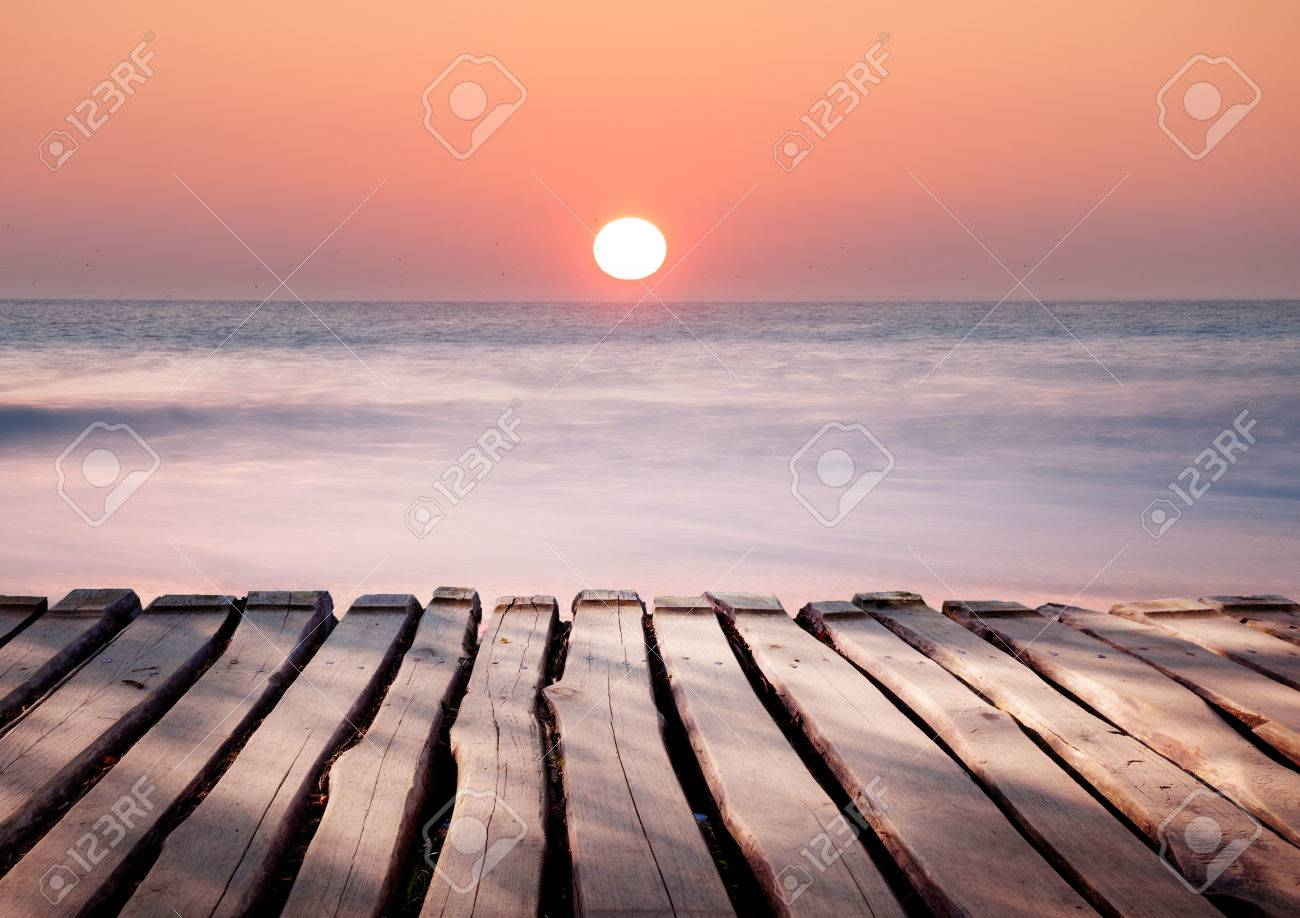 Seascape Landscape Of Tropical Ocean Beach Sunset In Soft Pastel Colors Stock Photo