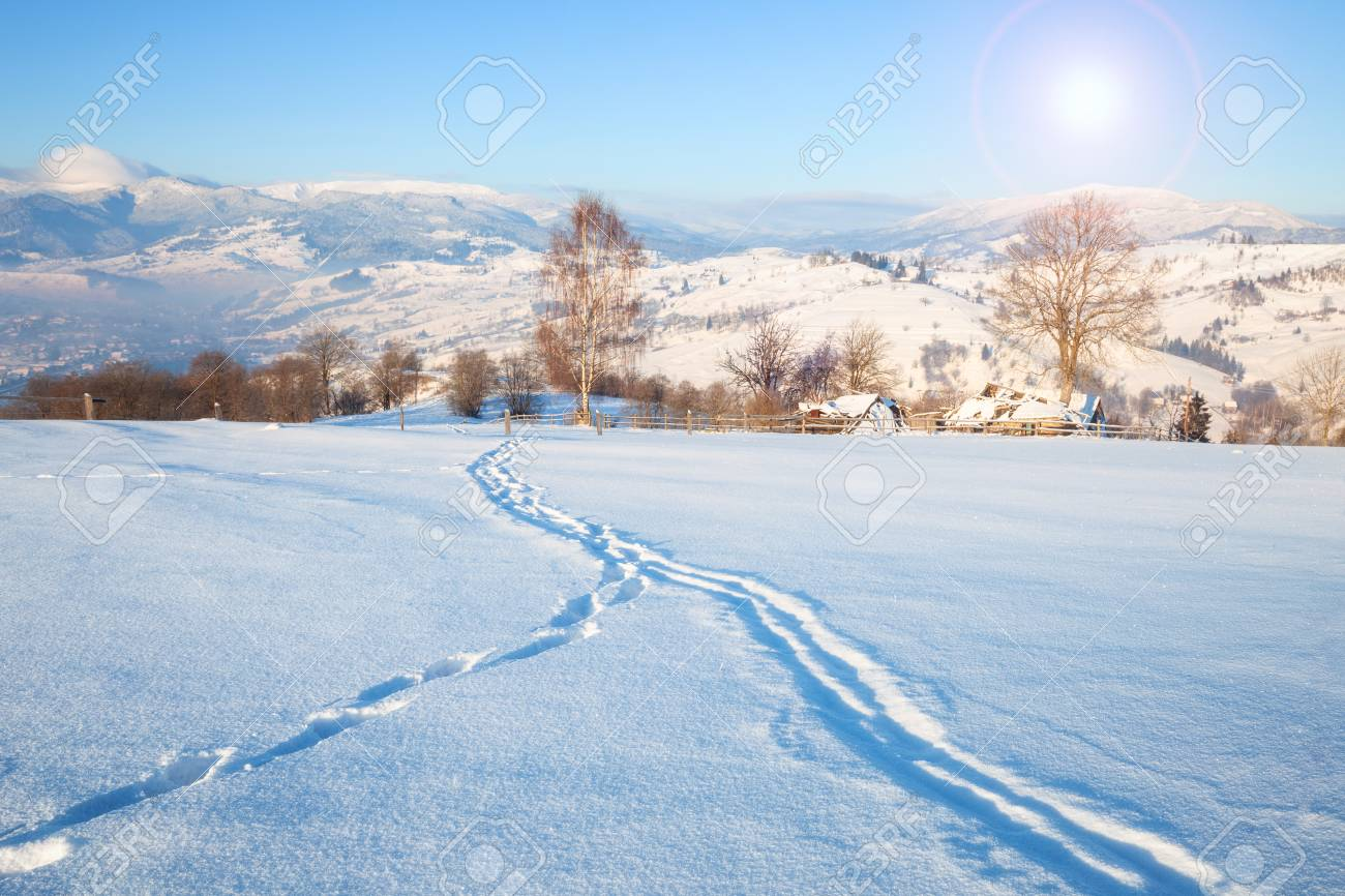 Beautiful Winter Nature Landscape Amazing Mountain View Of Sunset
