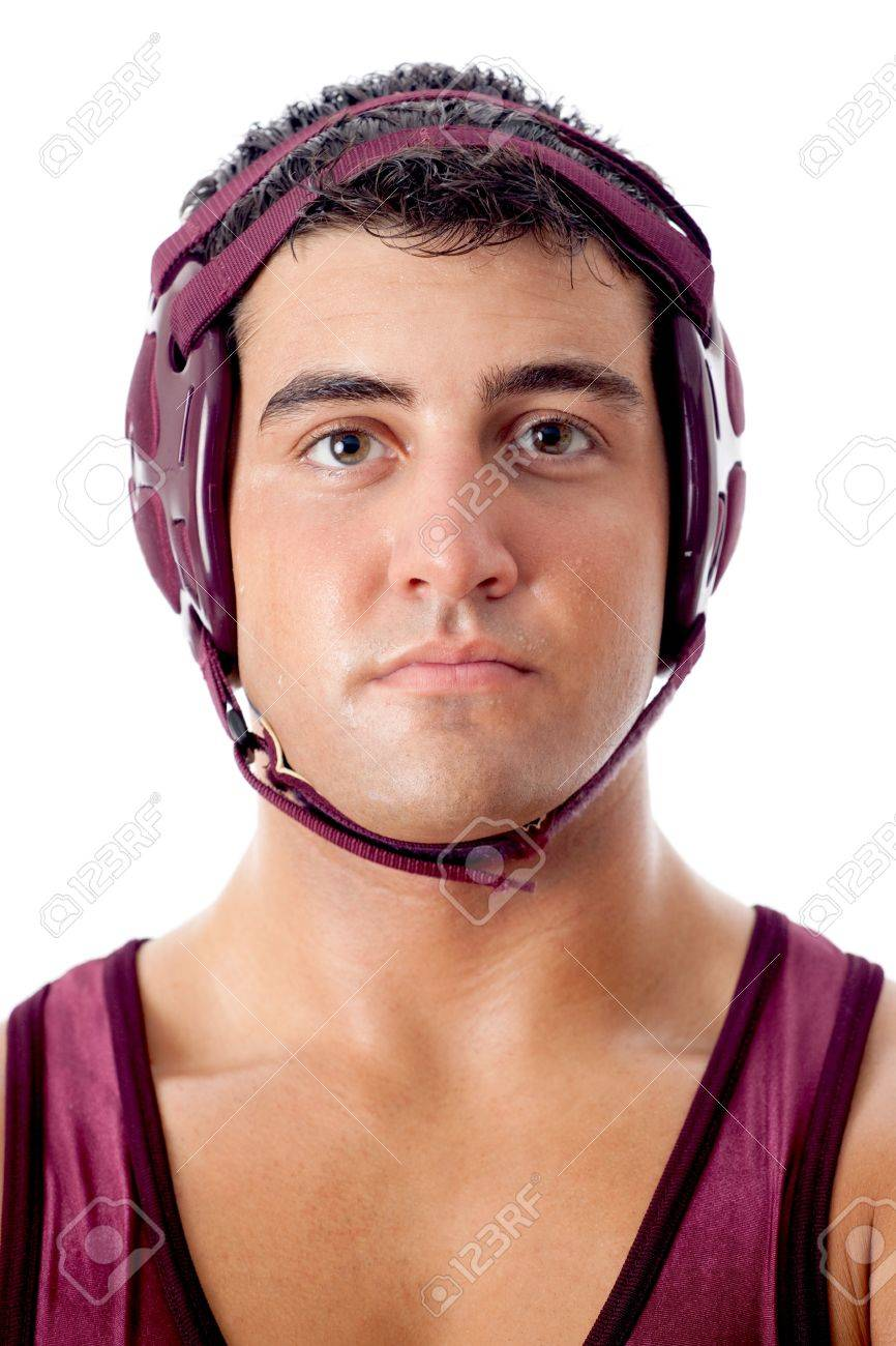 Young adult male wrestler. Studio shot over white. Stock Photo - 7586551