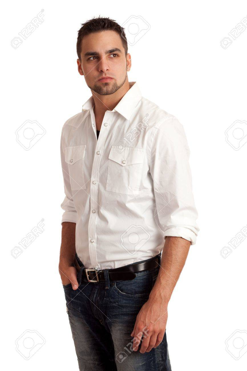 Man in White Shirt and Jeans Stock Photo - 9608980