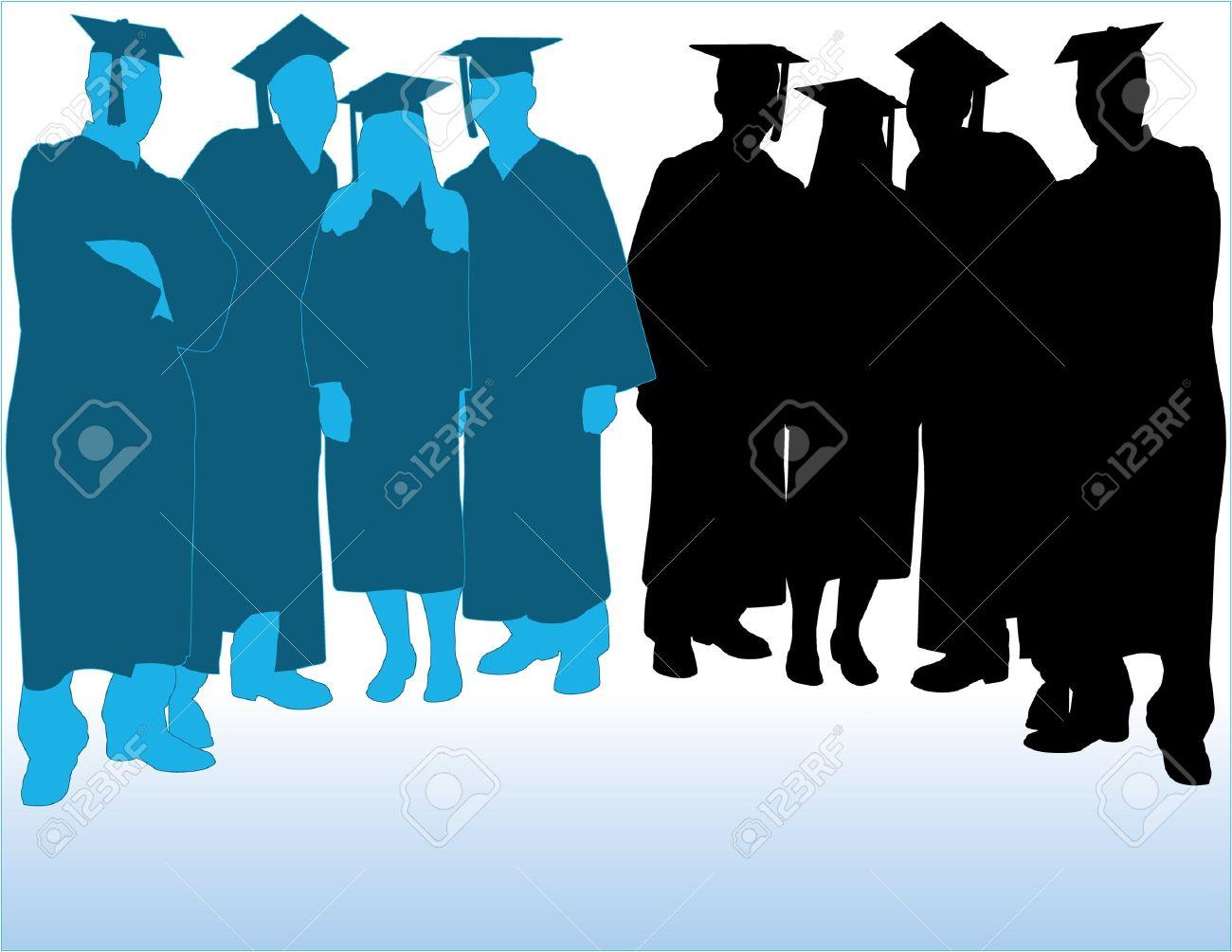 Graduates Vector Silhouettes Stock Vector - 11840083