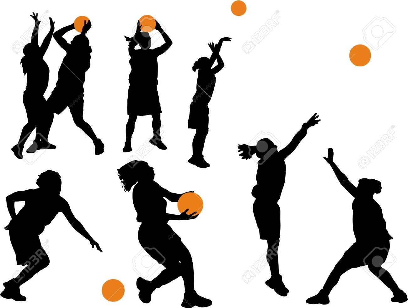 Women S Basketball Vector Silhouettes Royalty Free Cliparts Vectors