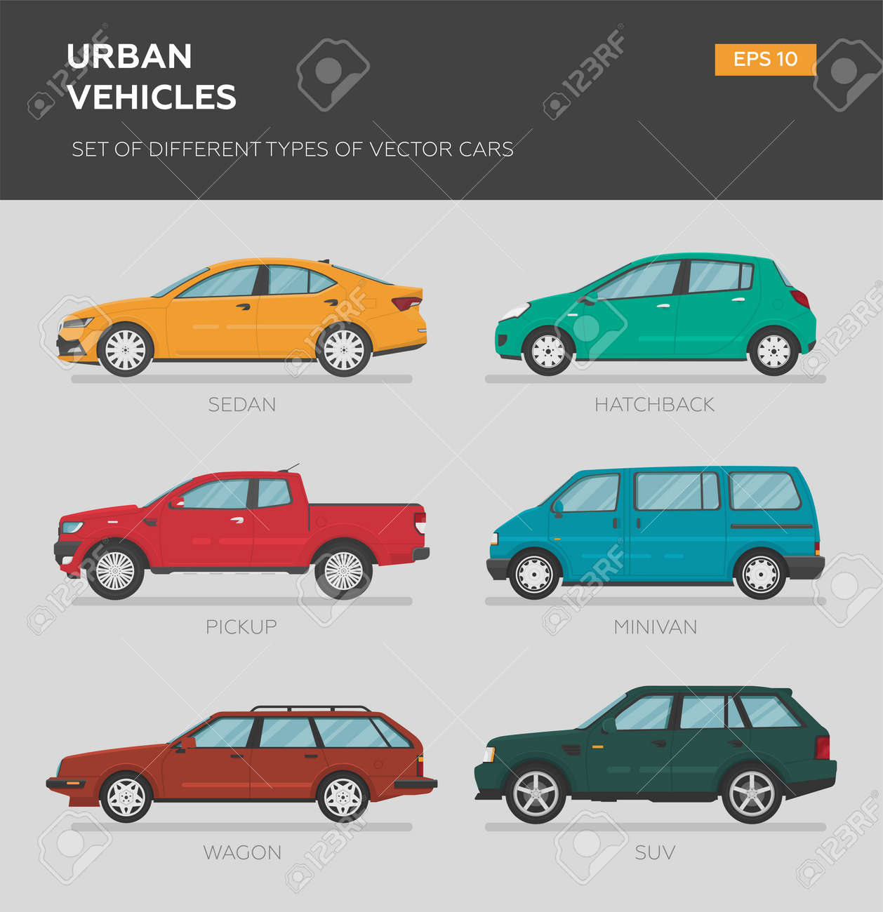 Urban vehicles. Set of different types of vector cars: sedan, muscle car, minivan, pickup, truck, coupe. Cartoon flat illustration. Auto for graphic and web design. - 166634103