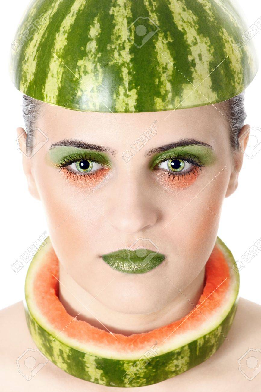 Funny Woman With Water-Melon As Helmet Stock Photo 73758982 ...