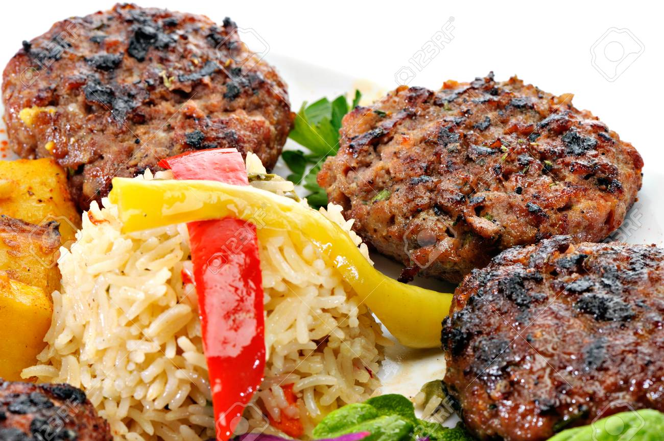 meatballs with rice and vegies stock photo picture and royalty free