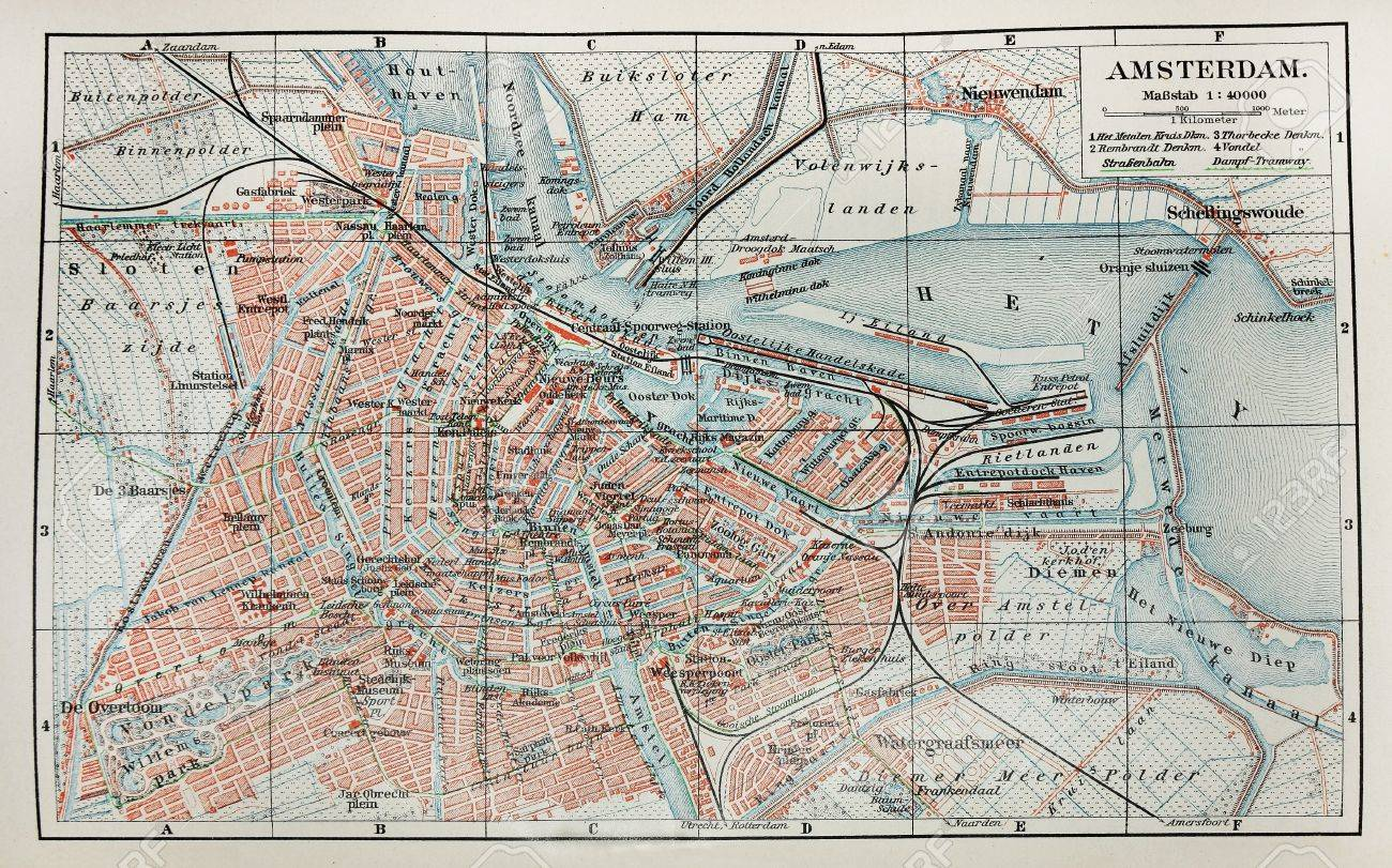 Th Century Old Map Of Amsterdam City Stock Photo Picture And - Amsterdam old map
