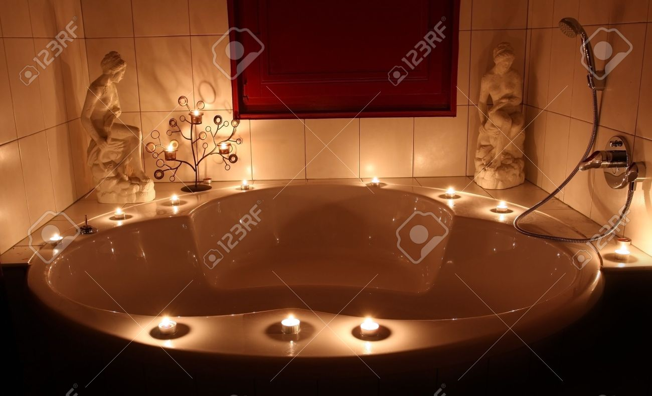 romantic bathtub with lit candles stock photo picture and royalty rh 123rf com