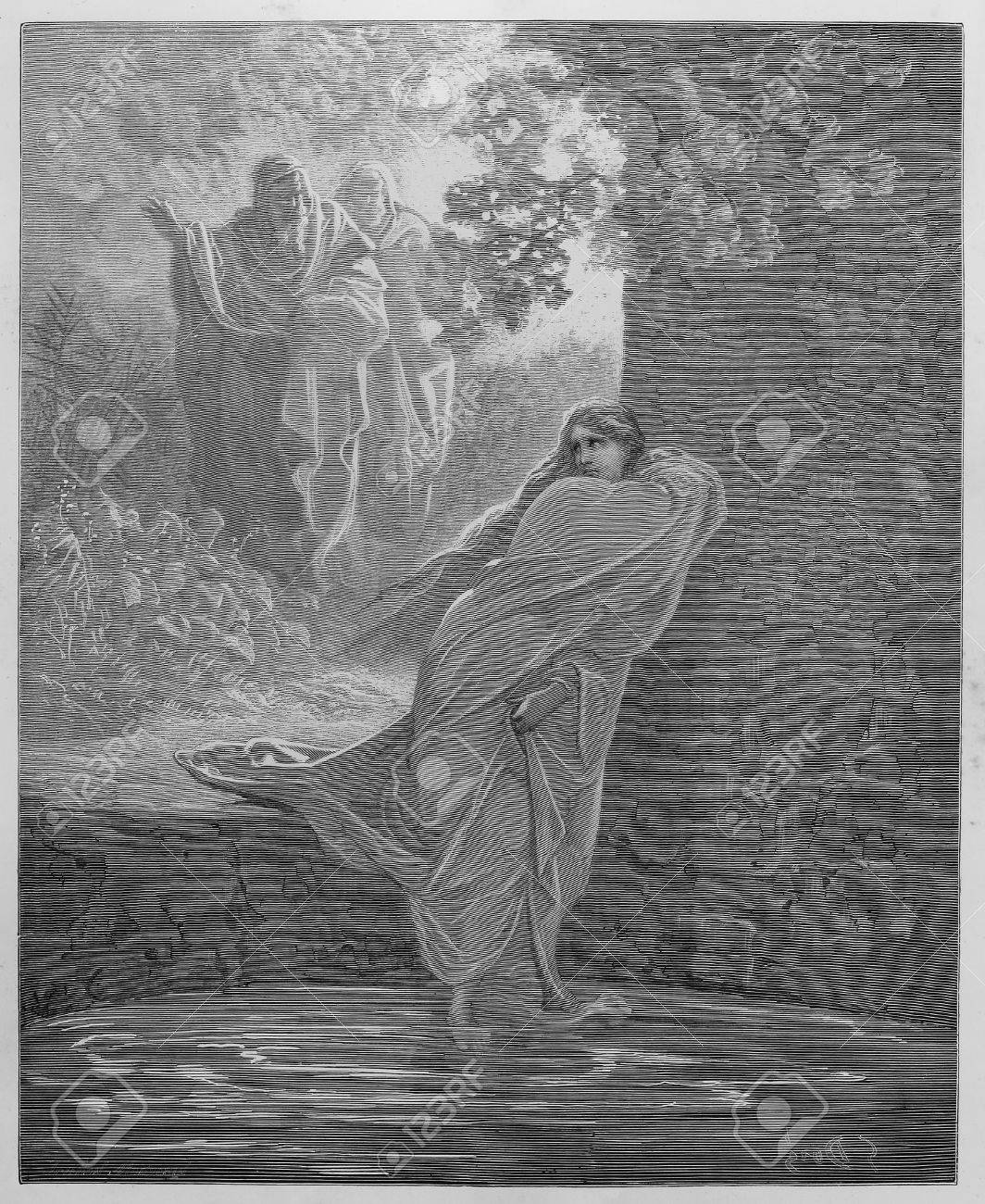 Susanna in the Bath - Picture from The Holy Scriptures, Old and New Testaments books collection published in 1885, Stuttgart-Germany. Drawings by Gustave Dore.  Stock Photo - 16102223