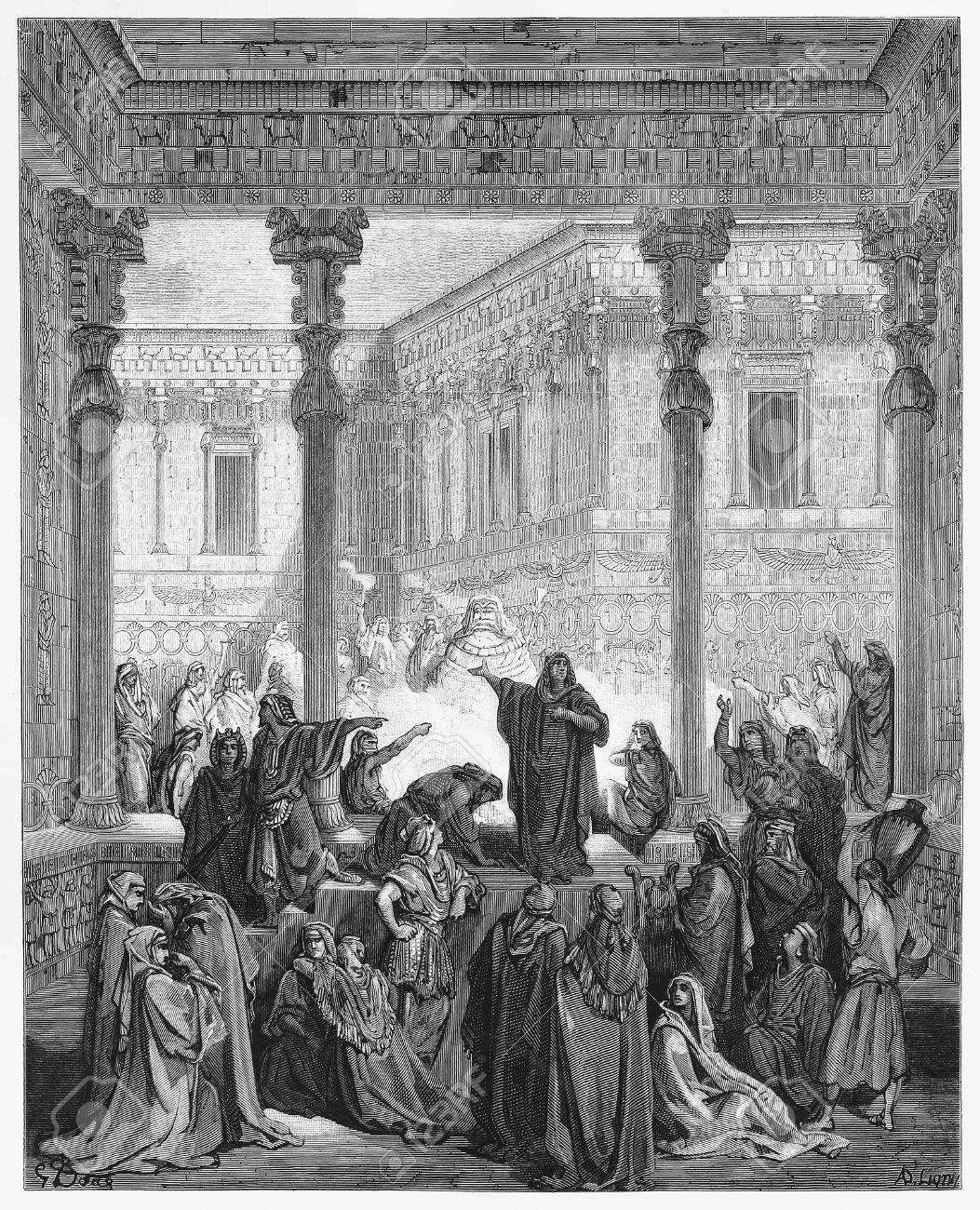 Daniel Confounding The Priests Of Bel - Picture from The Holy Scriptures, Old and New Testaments books collection published in 1885, Stuttgart-Germany. Drawings by Gustave Dore.  Stock Photo - 16102379