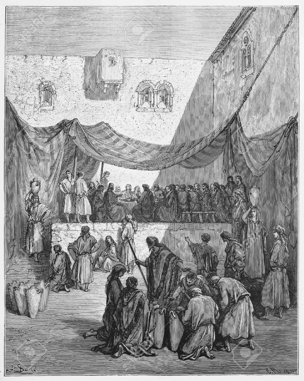 Die Hochzeit Zu Kana Bild Von Der Heiligen Schrift Altes Und