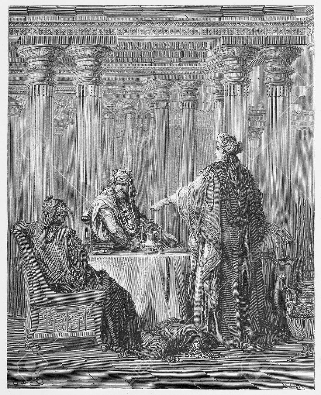 Queen Esther in the Kings Court defending her people - Picture from The Holy Scriptures, Old and New Testaments books collection published in 1885, Stuttgart-Germany. Drawings by Gustave Dore.  Stock Photo - 16284930