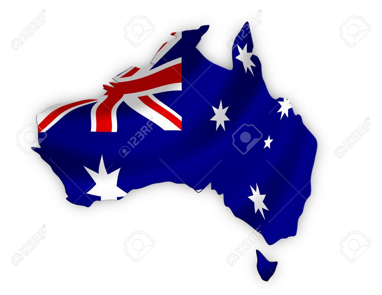 Australian Flag in the shape of Australia including Tasmania Stock Photo - 17129261