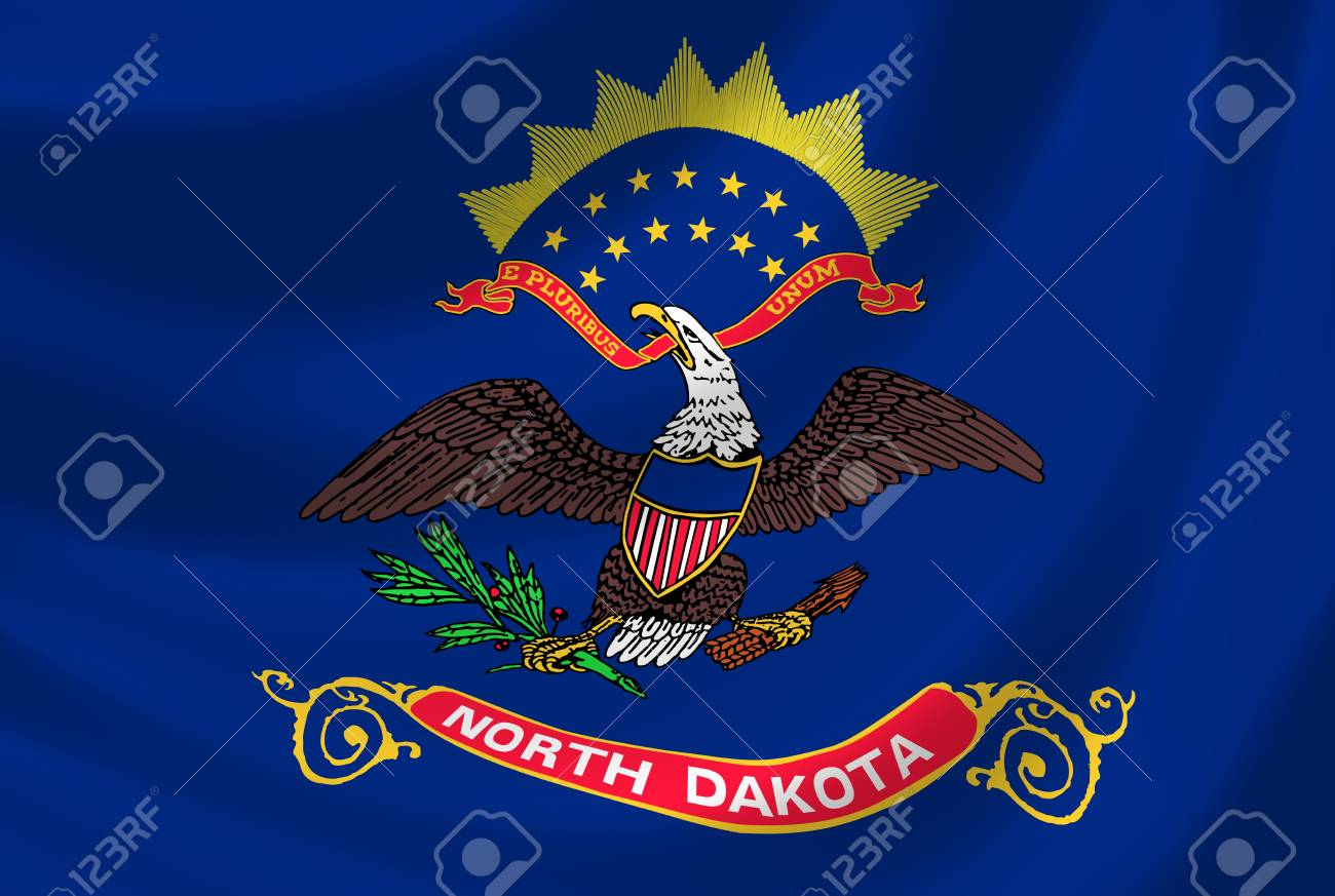 Flag of North Dakota American State waving in the wind detail Stock Photo - 17160372