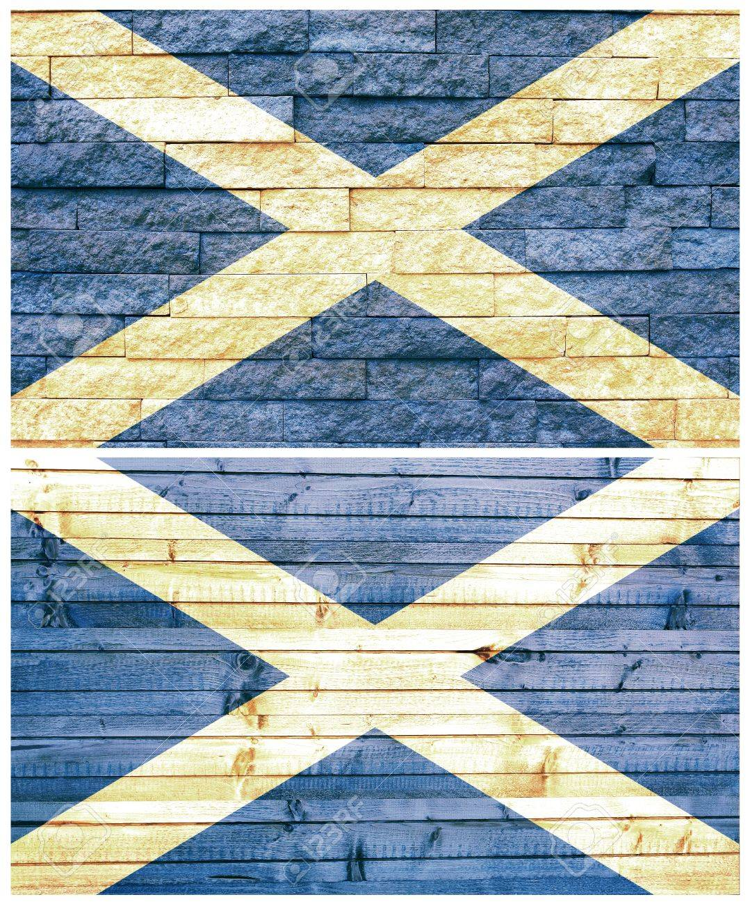 vintage wall flag of scotland collage stock photo picture and