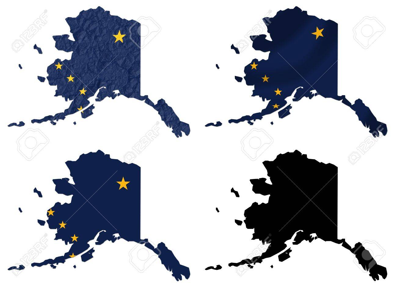 Us Alaska State Flag Over Map Collage Stock Photo Picture And - Us-map-alaska-state