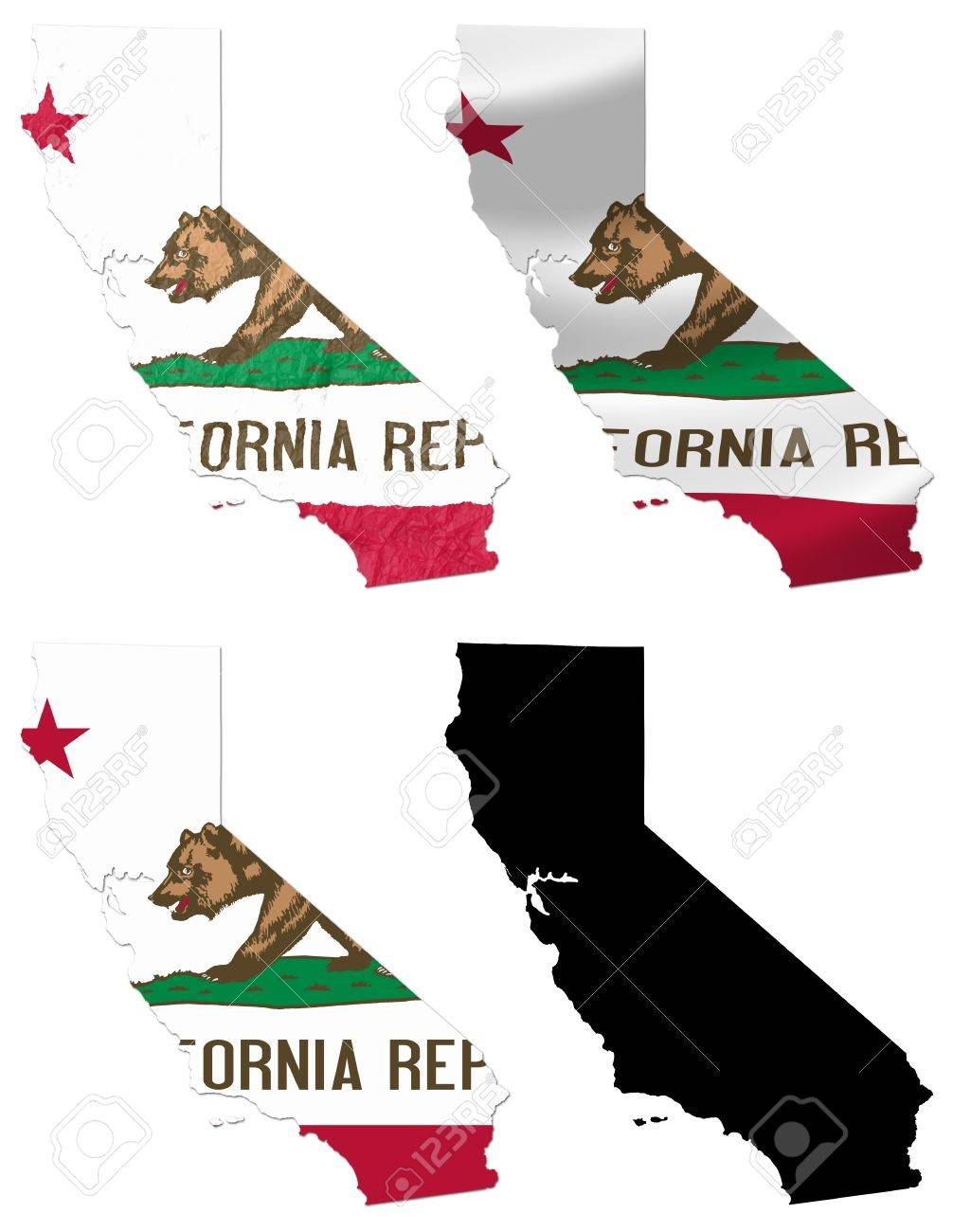 US California State Flag Over Map Collage Stock Photo Picture And - Us map collage