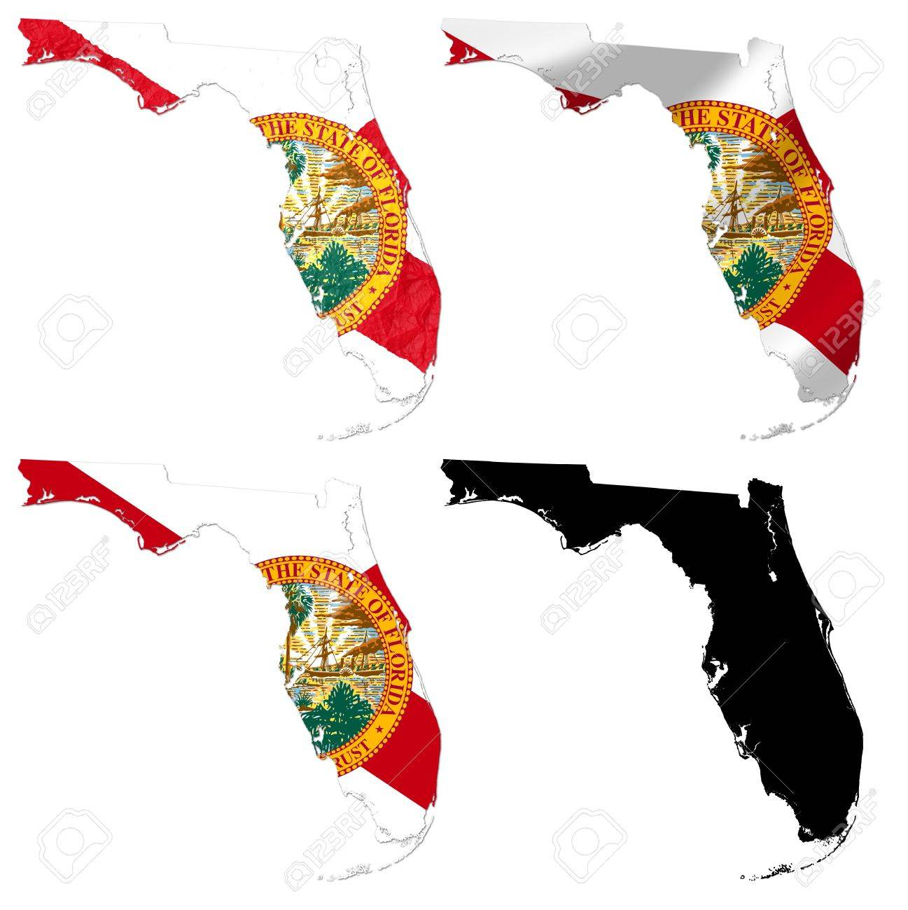 Us Map Photo Collage.Us Florida State Flag Over Map Collage Stock Photo Picture And