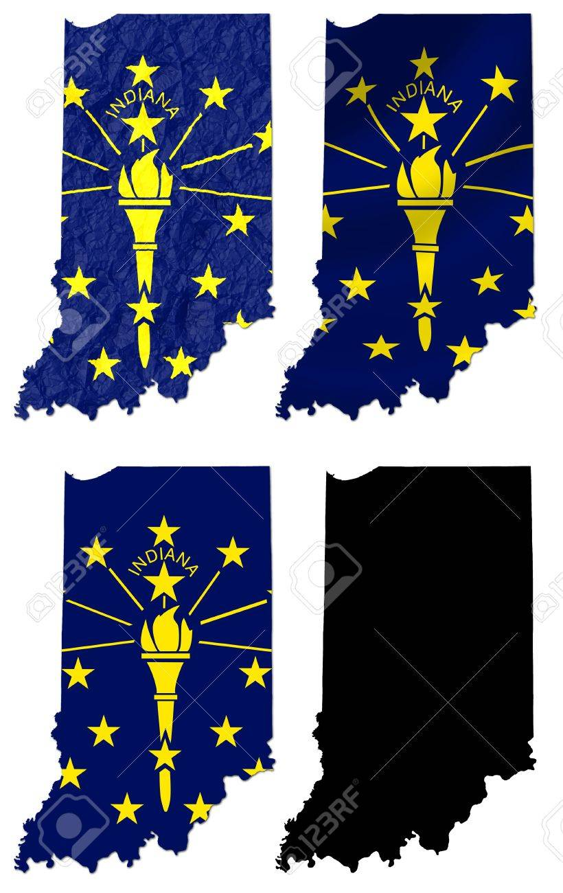 us indiana state flag over map collage stock po 18291162