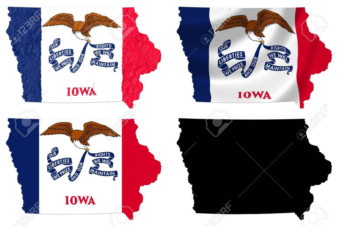 US Iowa State Flag Over Map Collage Stock Photo Picture And - Iowa map us