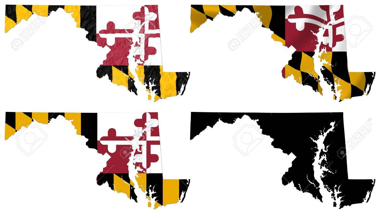 US Maryland State Flag Over Map Collage Stock Photo Picture And - Us map maryland state