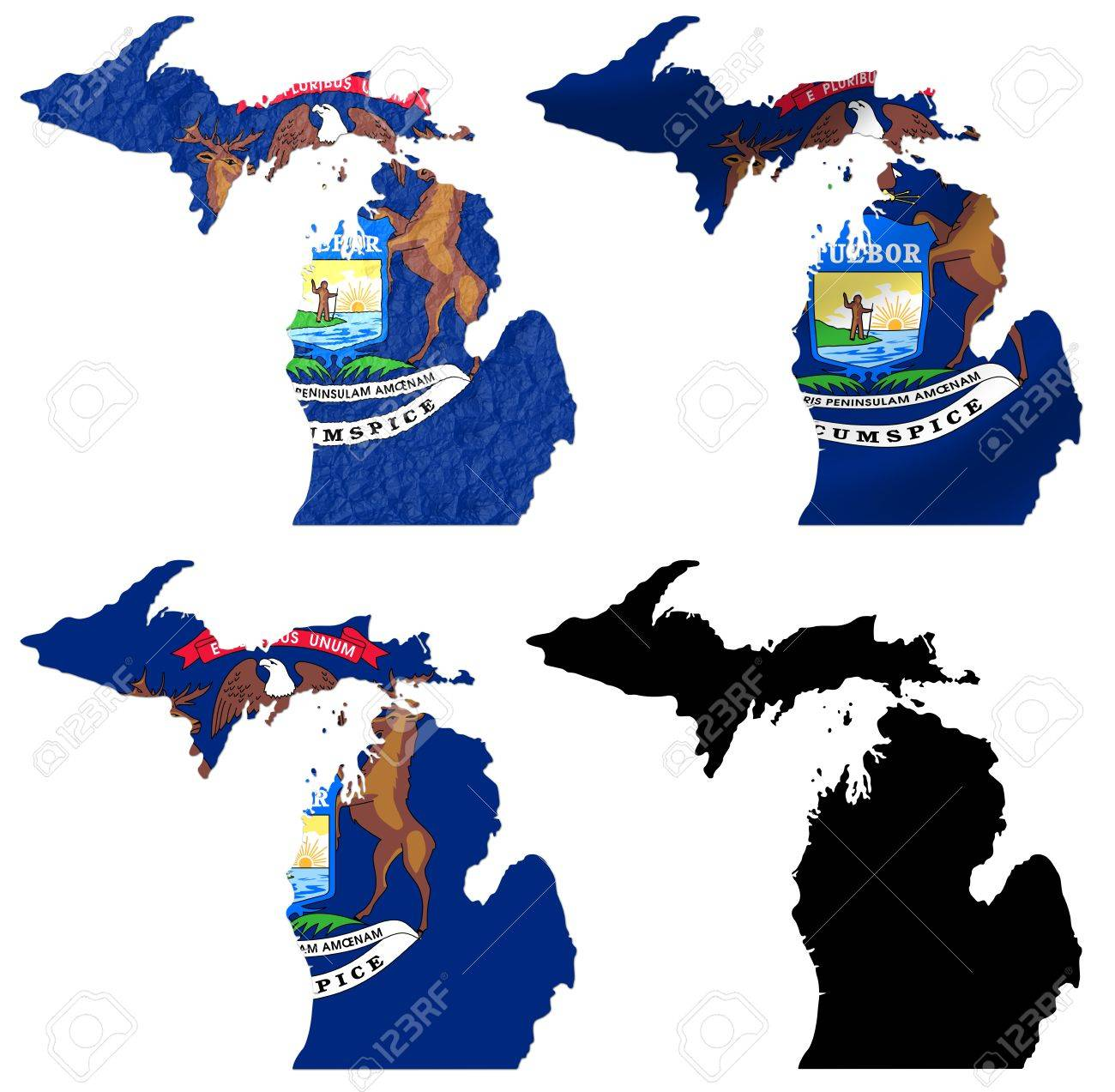 Us Map Photo Collage.Us Michigan State Flag Over Map Collage Stock Photo Picture And