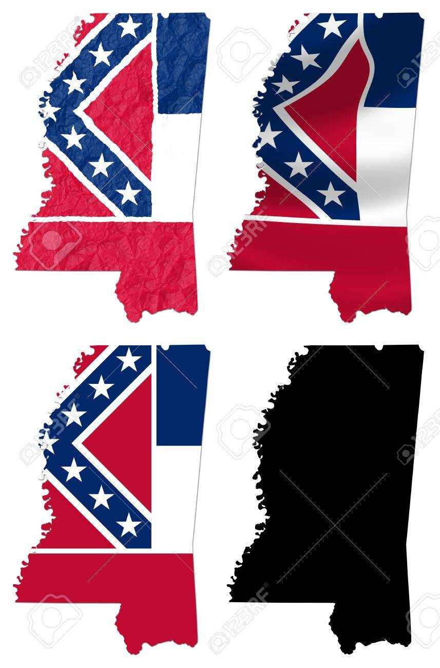 US Mississippi State Flag Over Map Collage Stock Photo Picture - Us map collage