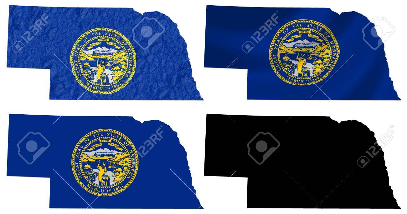 US Nebraska State Flag Over Map Collage Stock Photo Picture And - Us map collage