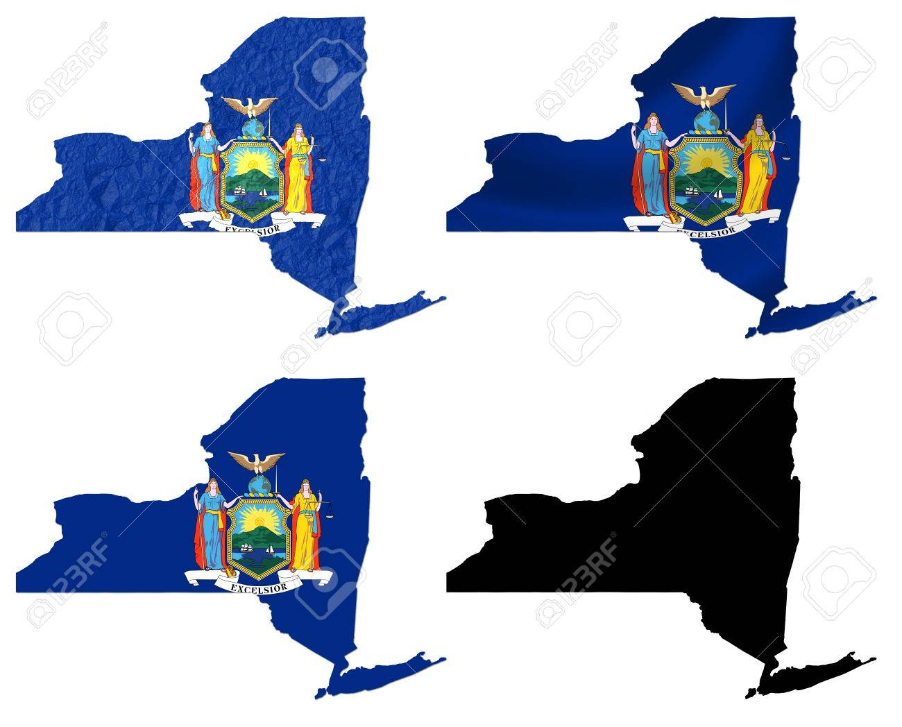 Us Map Photo Collage.Us New York State Flag Over Map Collage Stock Photo Picture And