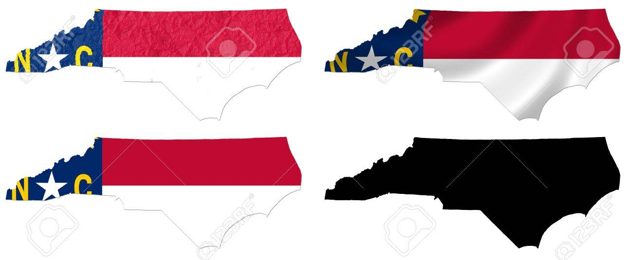US North Carolina State Flag Over Map Collage Stock Photo Picture - Us map collage