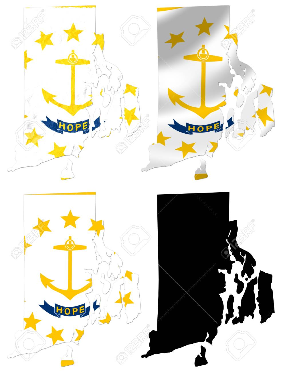 Us Rhode Island State Flag Over Map Collage Stock Photo Picture And
