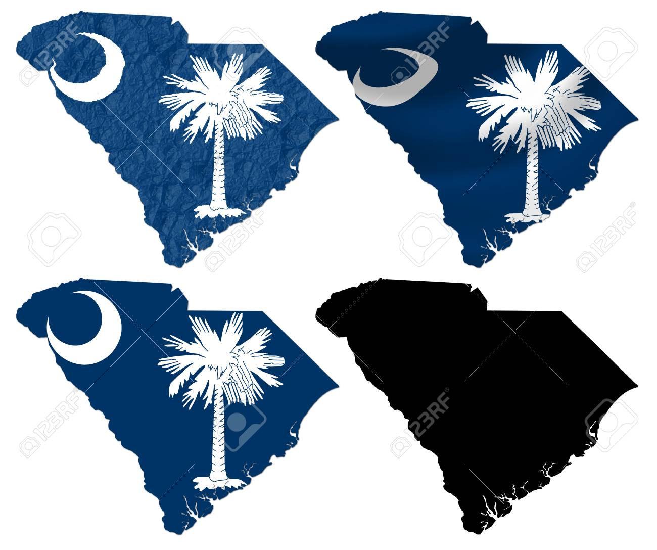 US South Carolina State Flag Over Map Collage Stock Photo, Picture ...