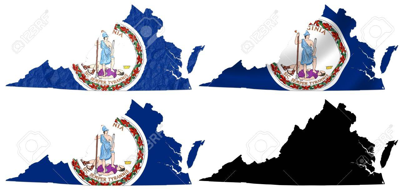 US Virginia State Flag Over Map Collage Stock Photo Picture And - Us map collage