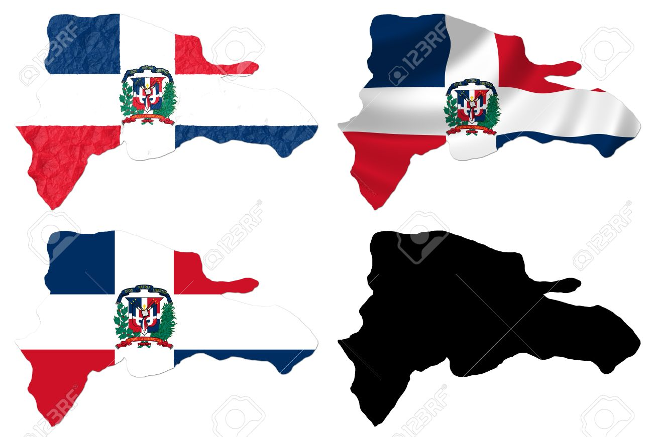 Dominican Republic Map Flag on