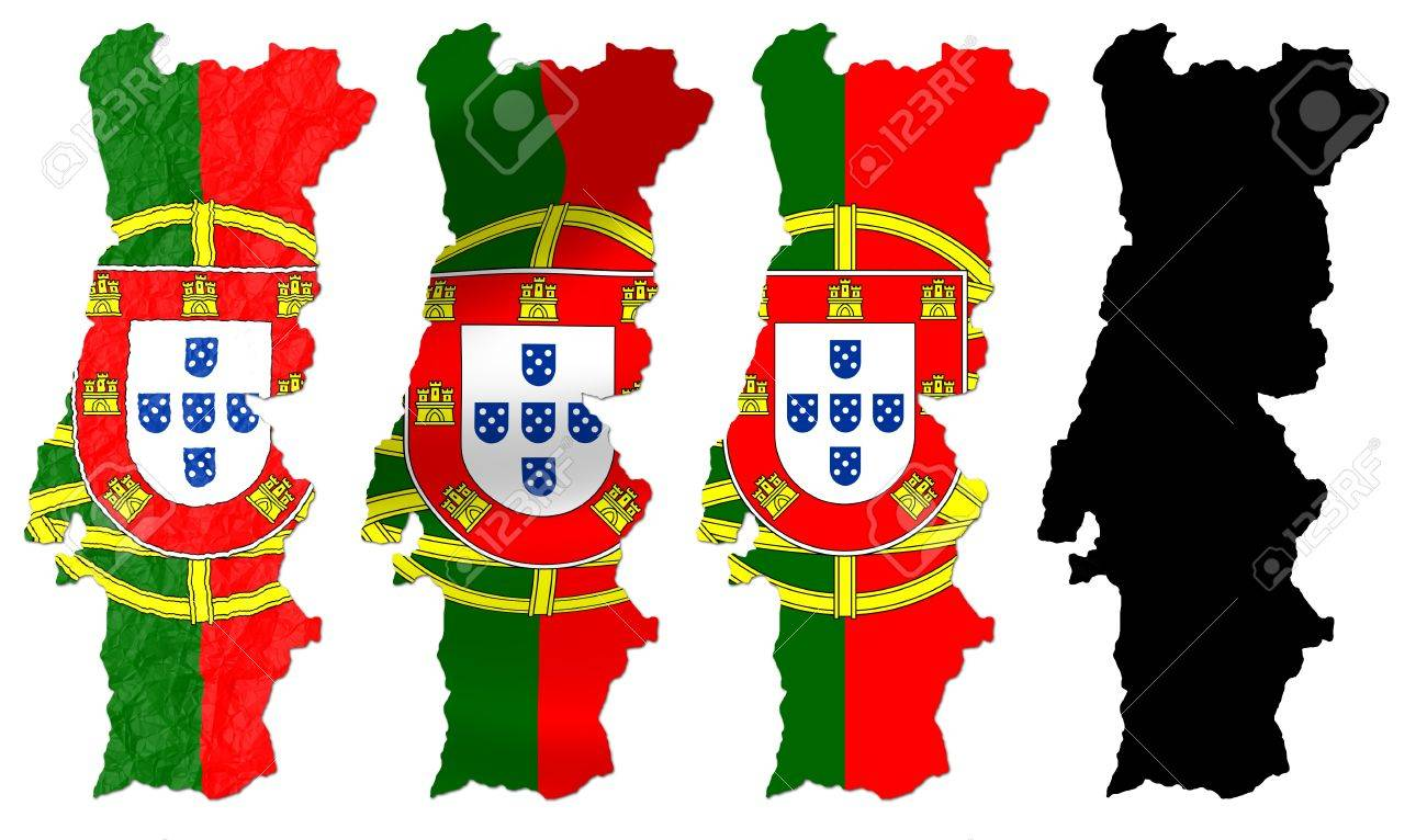 Portugal Flag Over Map Collage Stock Photo Picture And Royalty - Portugal map flag