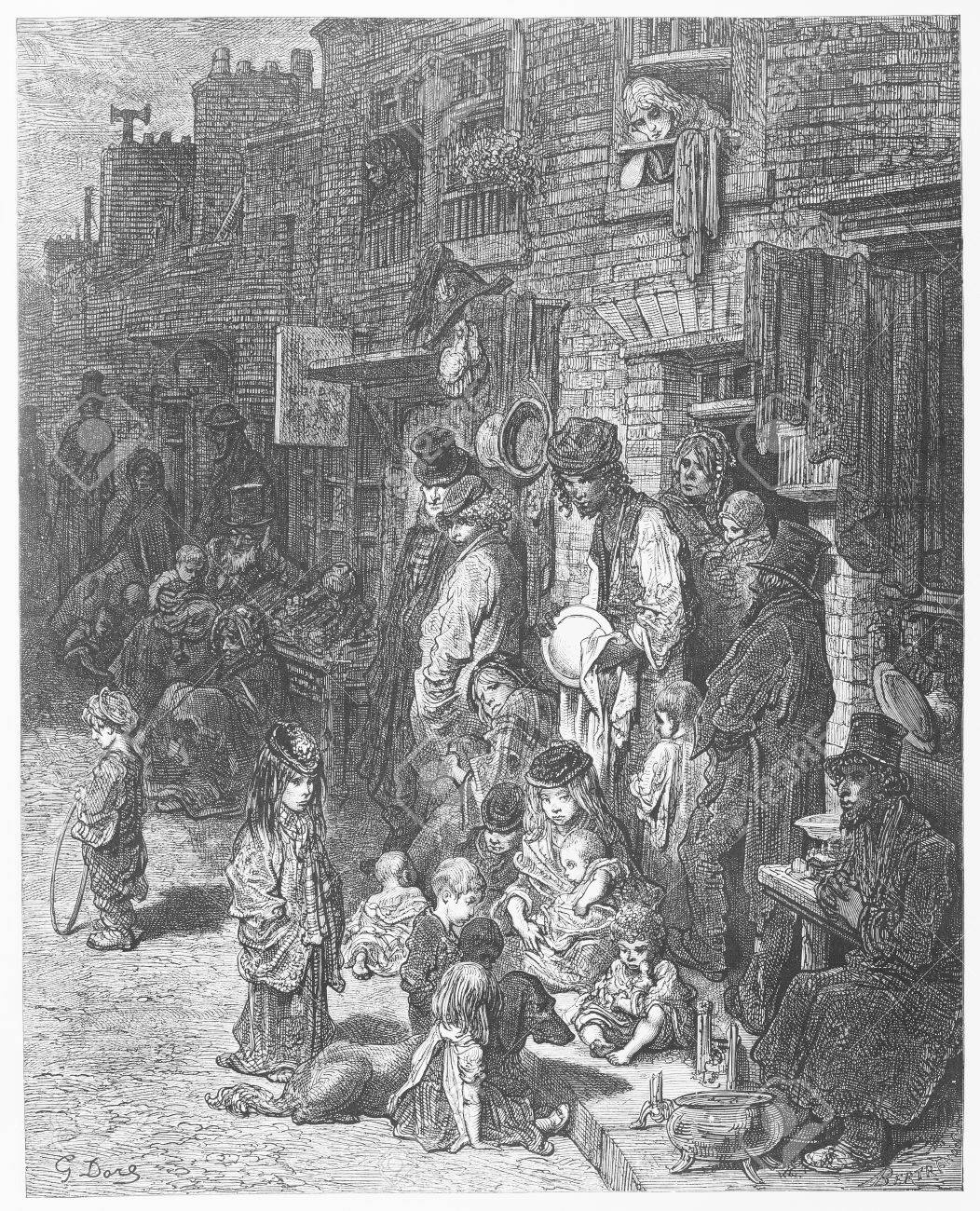 Stock Photo - Wentworth Street - Gustave Dore s 1872 London a Pilgrimage