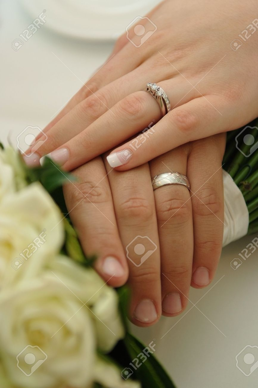 Bride Groom Wearing Wedding Rings Stock Photo Picture And Royalty