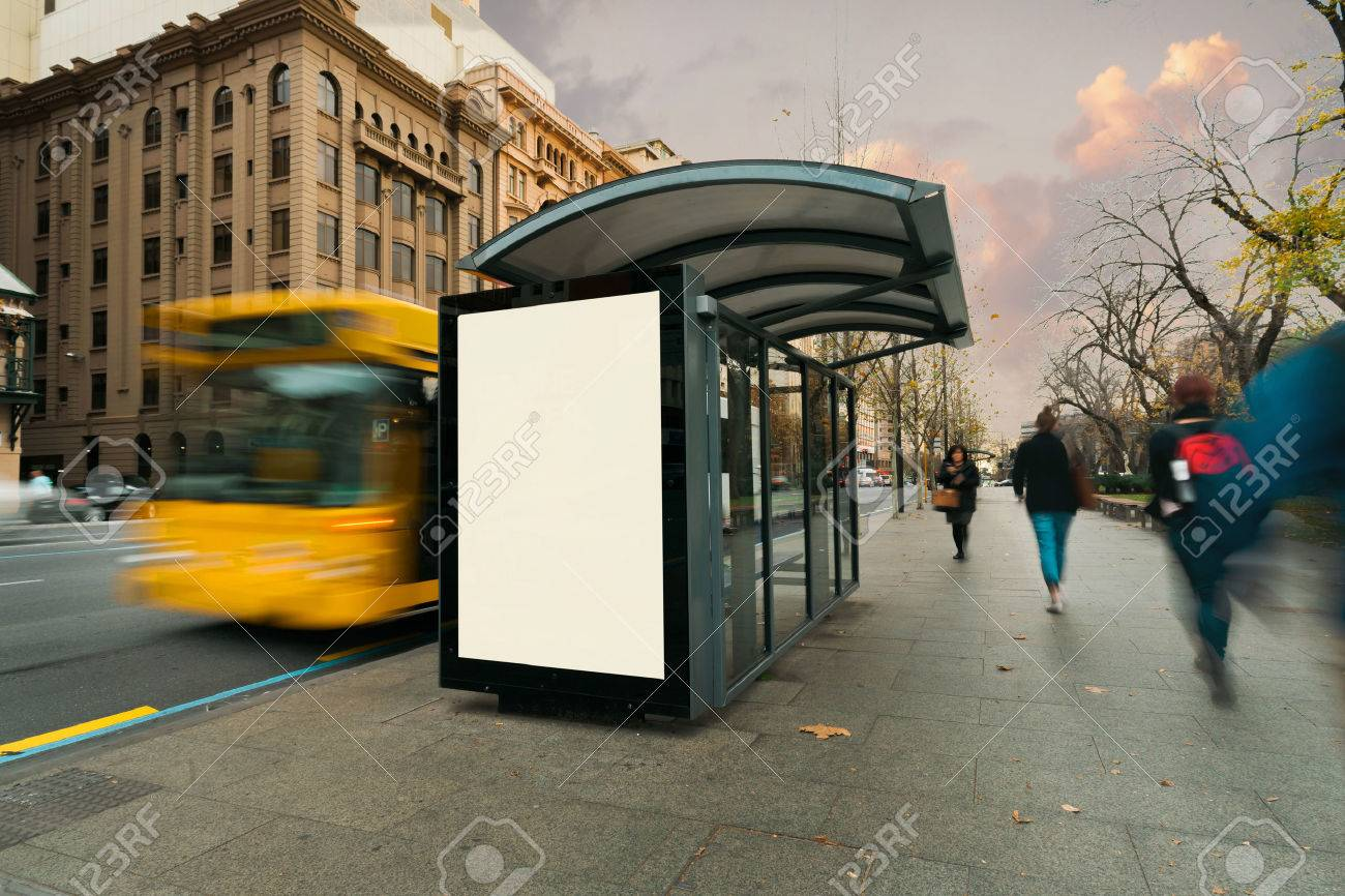 Blank outdoor bus advertising shelter - 52357095