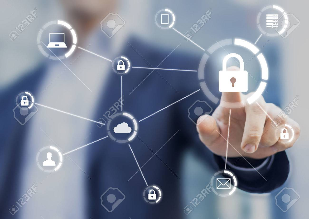Cybersecurity of network of connected devices and personal data security, concept on virtual interface with consultant in background - 70839679