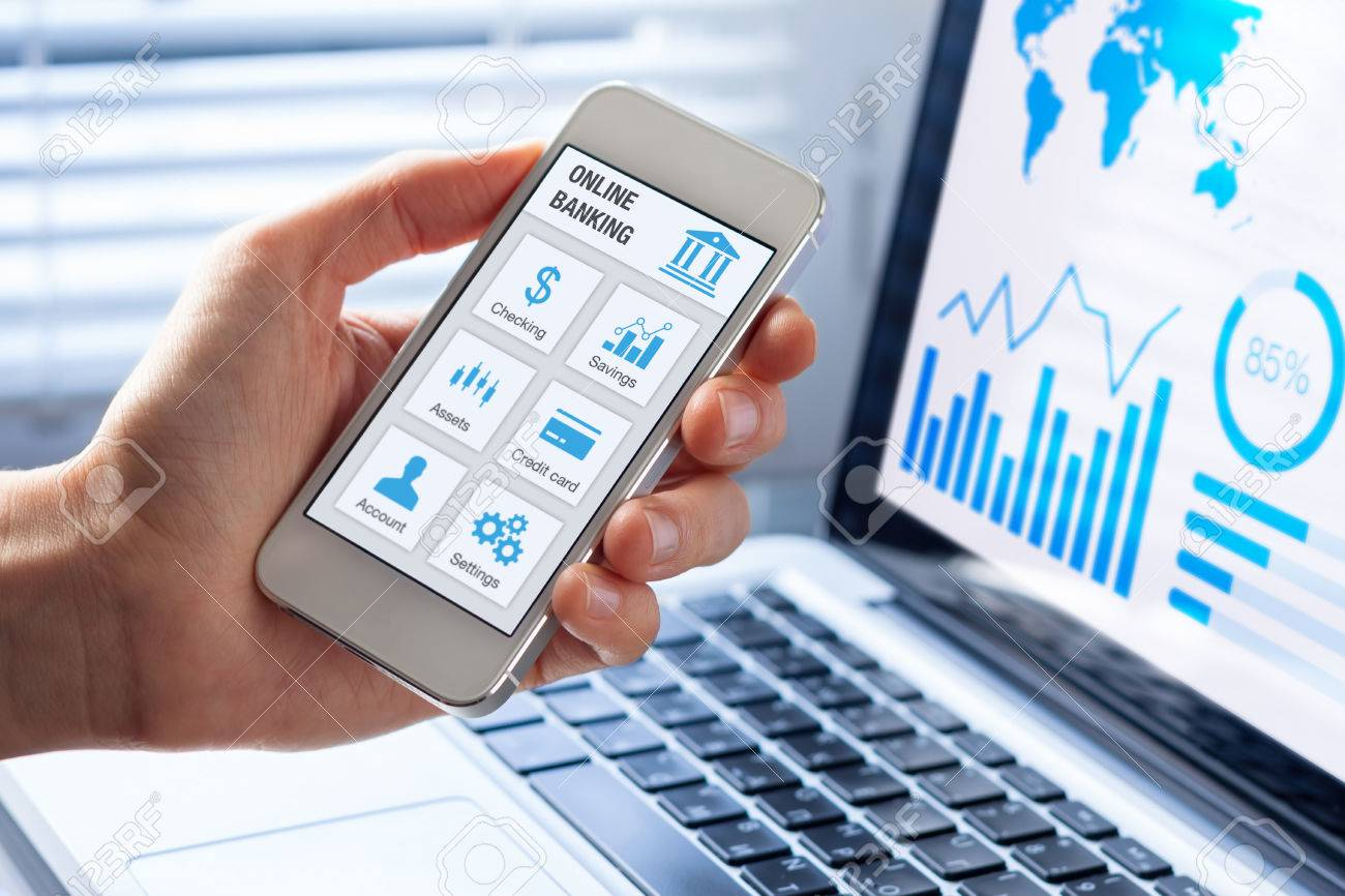 Online banking app on a mobile phone screen with a business person