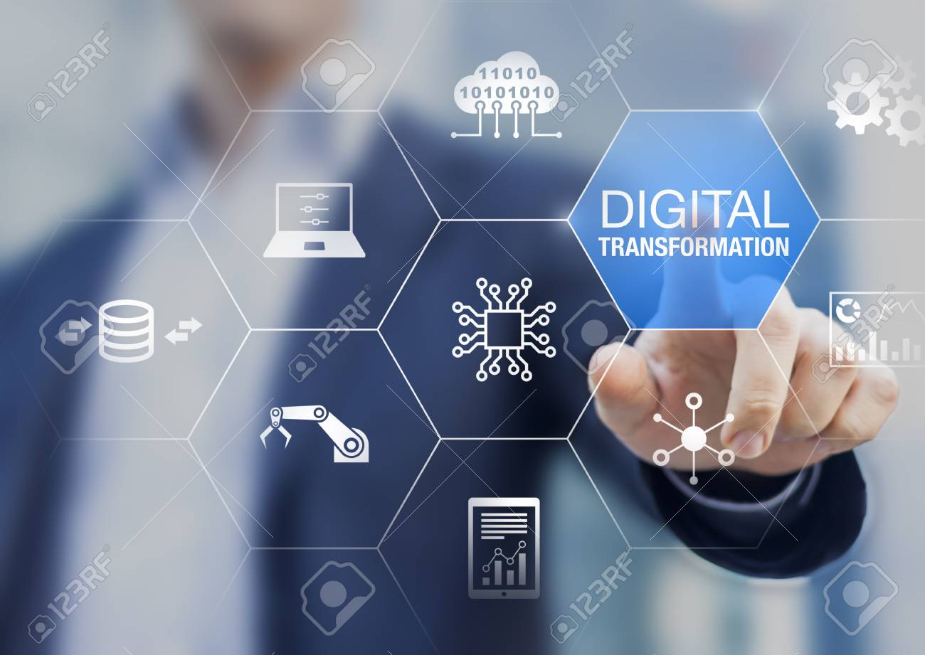 Digital transformation technology strategy, digitization and digitalization of business processes and data, optimize and automate operations, customer service management, internet and cloud computing - 117616720