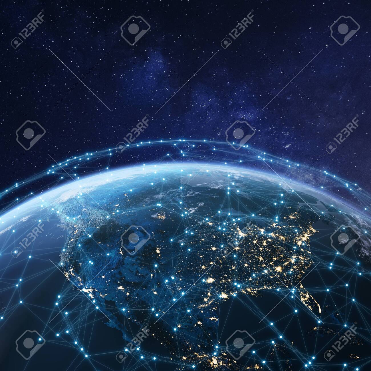 Telecommunication network above North America from space by night with city lights in USA, Canada and Mexico, satellite orbiting Planet Earth for Internet of Things IoT and blockchain technology - 143012030