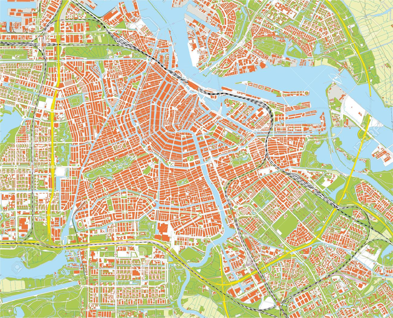 Cartina Amsterdam Download.Amsterdam City Map Royalty Free Cliparts Vectors And Stock