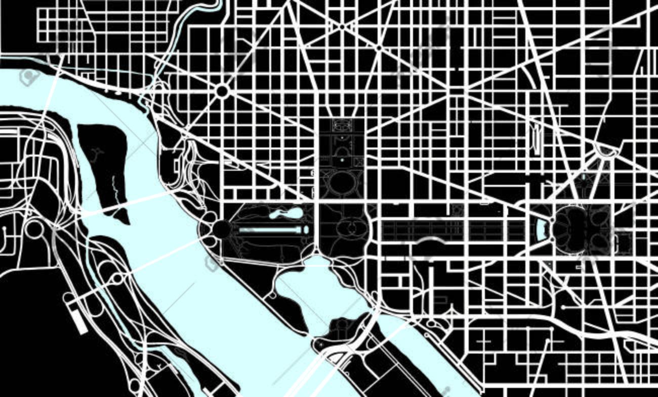 Washington DC Black And White Map Royalty Free Cliparts Vectors - Washington dc bridges map